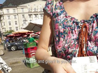 shy chick being offered money to be fucked in public