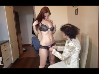 thin old nanny fucked by her hot redhead