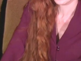 Mouth-watering horny gripe with red hair is showing off her sweet pussy
