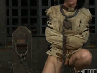 Gagged knockout acquires violent whipping on her breasts