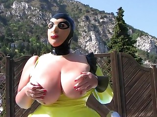 The Busty Latex Mask Bee - Outdoor Blowjob Handjob - Cum on my Mask