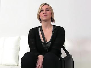 Horny blonde fucked and gets creampie in Casting
