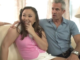 Horny guy share his young Asian GF with his dad