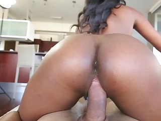 Guy with camera films gorgeous Ebony working with his dick