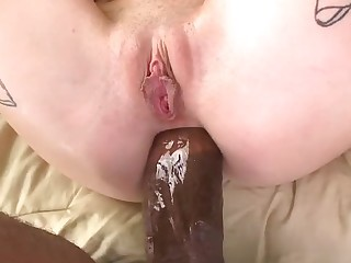 Extreme double penetration action with blondie and black dudes