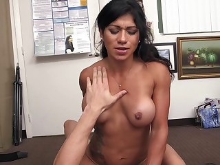 Tattooed Latina climbs aboard and goes for a hardcore POV ride