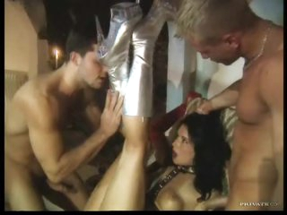 Hot group sex with a girl in gloves ass fucked