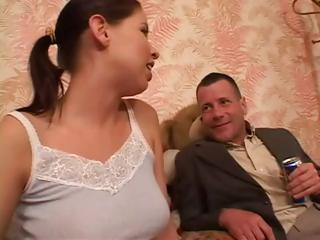 Cutie brunette, Haley Paige, gets fucked in the gazoo hard by step daddy