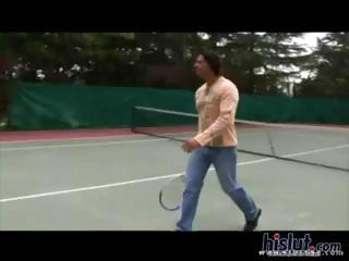 Slutty blonde and redhead tennis students get fucked by the instructor on the tennis court