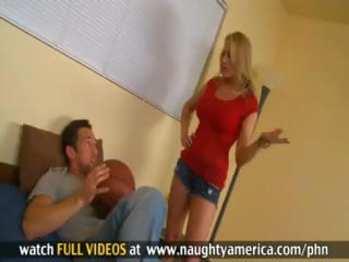 Golden-haired teacher Alanah Rae sucks and fucks her juvenile student