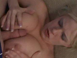 Curvy blonde girl sucks and swallows